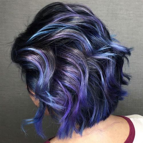 34-purple-and-blue-short-hair Popular Short Blue Hair Ideas in 2019