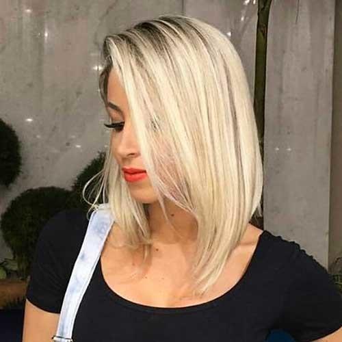 Angled-Long-Bob Striking Short Hair Ideas for Blondies