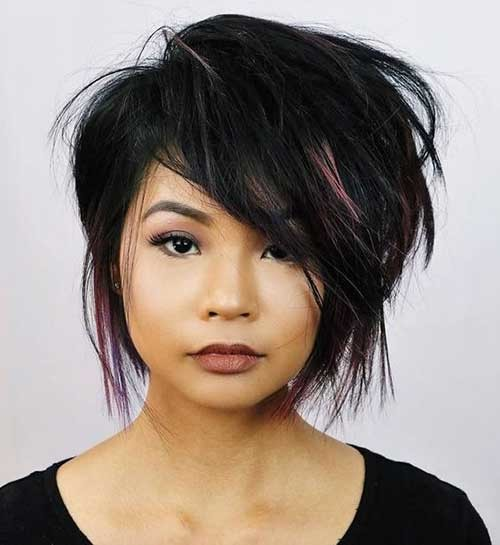 Asymmetrical-Short-Layered-Haircut Flattering Layered Short Haircuts for Thick Hair