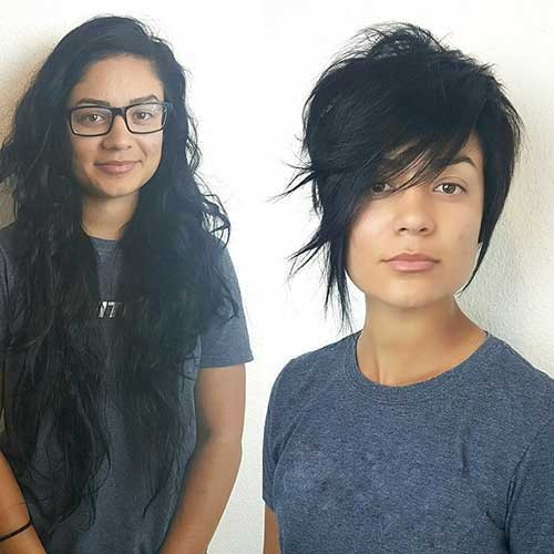 Before-and-After Asymmetrical Short Haircuts for Fabulous Look