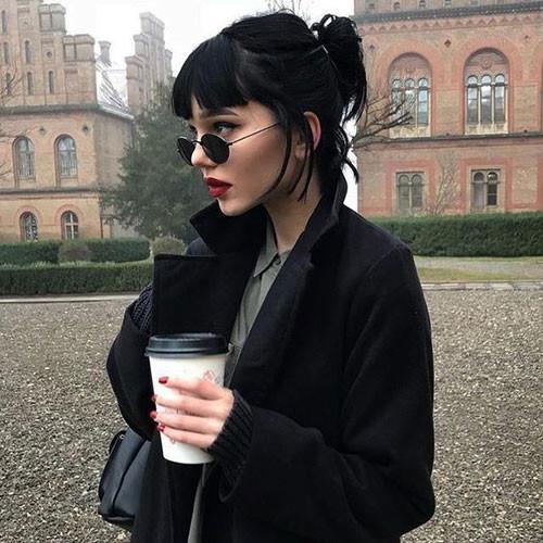 Black-Bob-Updo-with-Bangs Cute Short Haircuts and Styles Women