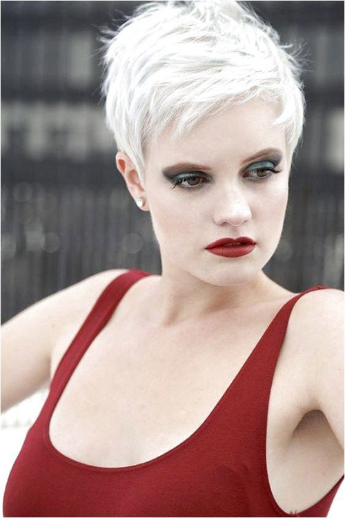 Bleach-Blonde-Short-Hair Sweet and Sexy Pixie Hairstyles for Women