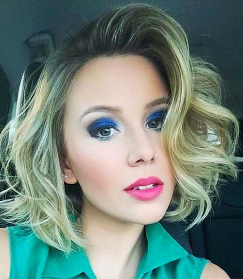 Blonde-Bob-and-Dark-Roots Trending Style for Summer: Curly and Wavy Hairstyles