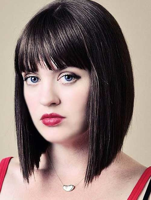 Bob-Short-Cut-Straight-with-Blunt-Bangs Nice Short Straight Hairstyles with Bangs