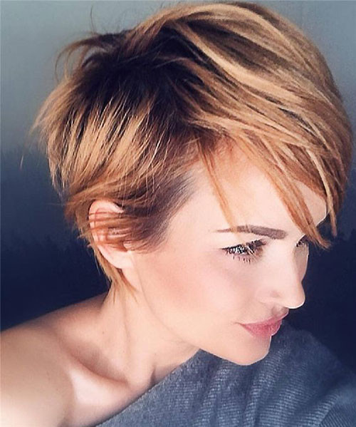 Caramel-Brown-Pixie-Cut Trendy Hair Colors for Short Hair for Ladies