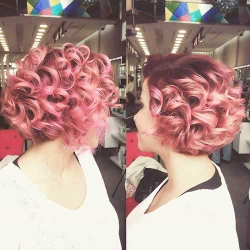 Curly-Pink-Short-Bob Trending Style for Summer: Curly and Wavy Hairstyles