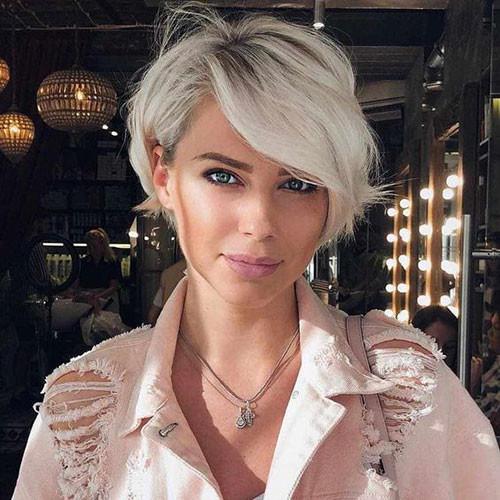 Cute-Long-Side-Bangs-for-Short-Hair Cute Short Haircuts and Styles Women