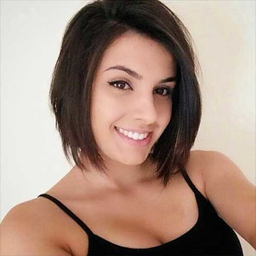 Dark-Brunette-Bob Nice Short Hairstyle Ideas for Teen Girls