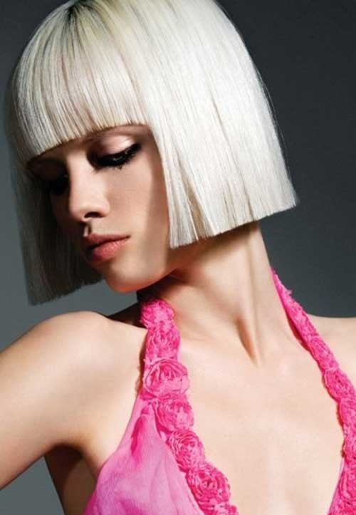 Different-Short-Platinum-Straight-Hair-with-Nice-Bangs Nice Short Straight Hairstyles with Bangs