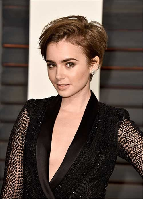 Lily-Collins-Longer-Pixie-Brown-Haircut Long Pixie Haircuts