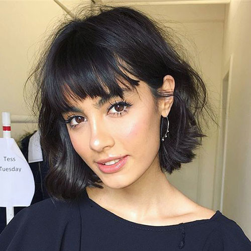 Messy-Bob-with-Bangs Cute Short Haircuts and Styles Women