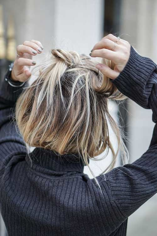 Messy-Bun-for-Long-Bob Simple Short Hairstyles for Pretty Women