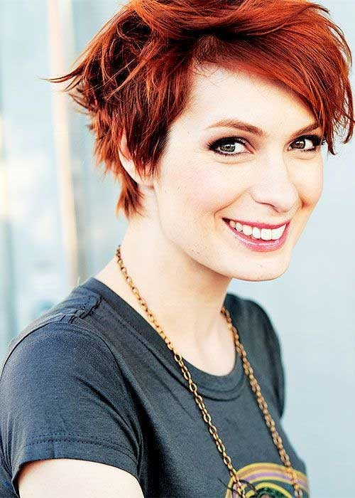 Messy-Short-Red-Pixie-Hairstyle Long Pixie Haircuts