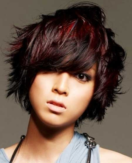 Nice-Messy-Bob-Hair-with-Subtle-Hues-of-Red-Maroon-and-Black Hair Color for Short Hair 2019