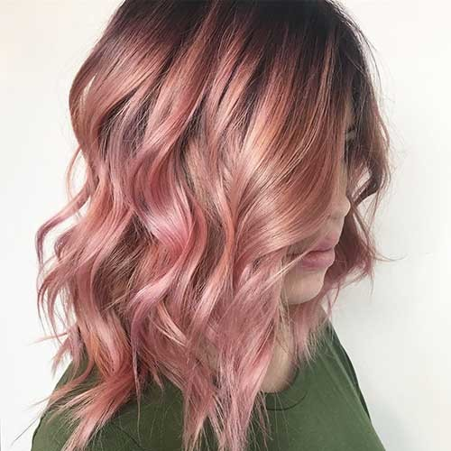Pastel-Pink-Dark-Roots Nice Short Hairstyle Ideas for Teen Girls