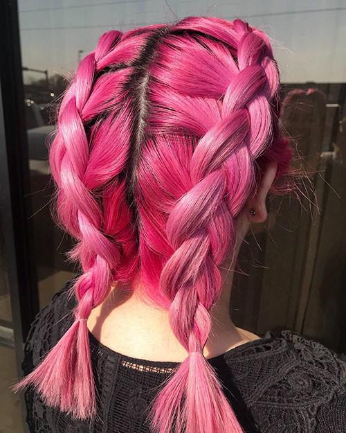 Pink-Hair-Short-French-Braids Best French Braid Short Hair Ideas 2019