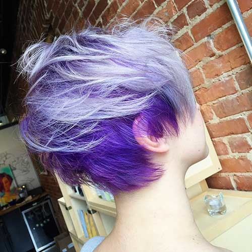 Purple-Hair-with-Pastel-Color Nice Short Hairstyle Ideas for Teen Girls