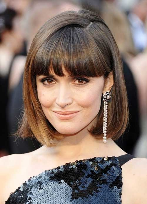 Rose-Byrne-Straight-Bob-Hair-with-Bangs Nice Short Straight Hairstyles with Bangs