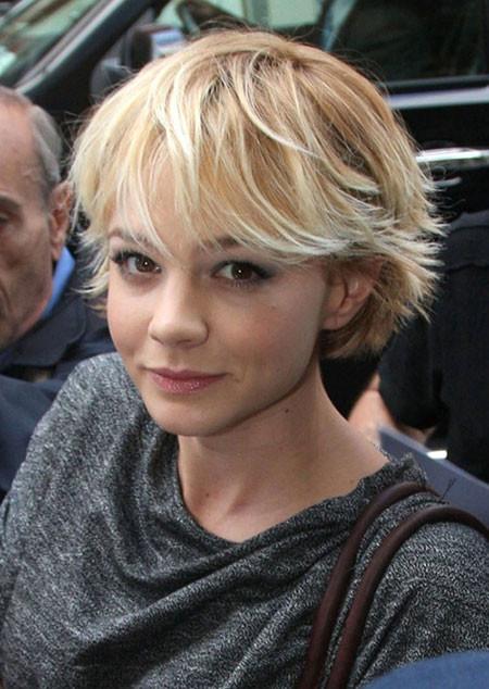 Short-Boyish-Long-Bangs Best Celebrity Short Hairstyles