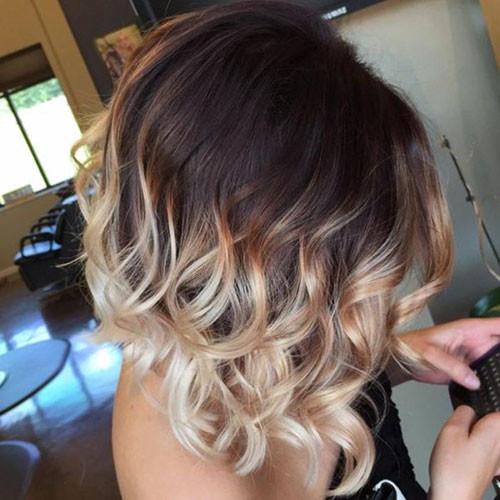 Short-Dark-Brown-Hair Beautiful Brown to Blonde Ombre Short Hair