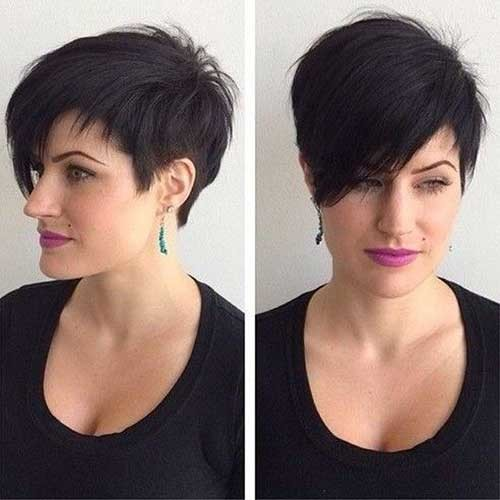 Stylish-Long-Dark-Pixie-Haircut Long Pixie Haircuts