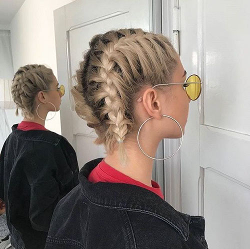 Two-French-Braids-Short-Hairstyle Best French Braid Short Hair Ideas 2019