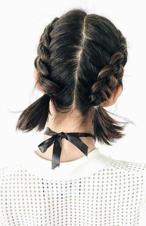 Two-French-Braids Best French Braid Short Hair Ideas 2019