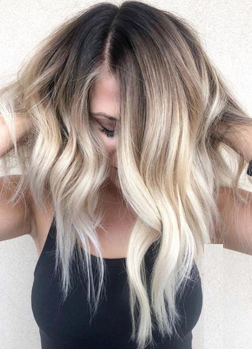 Wavy-Hair Beautiful Brown to Blonde Ombre Short Hair