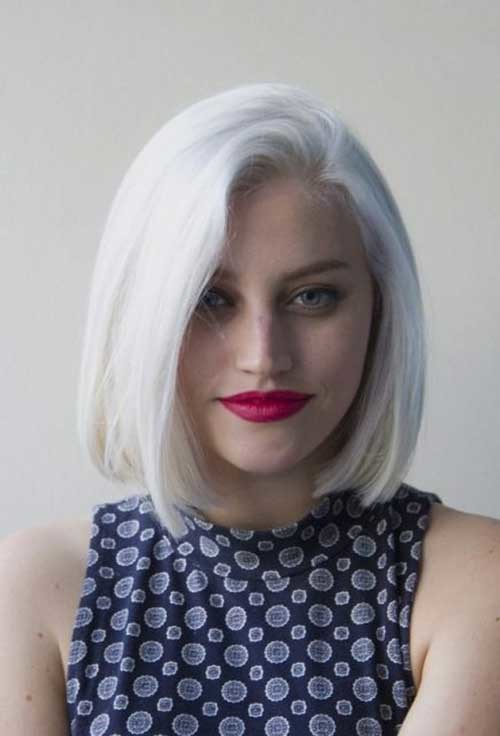 White-Dyed Short Hairstyle Options for Fine Haired Ladies