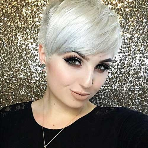 White-Pixie Chic Short Hair Ideas with Bangs