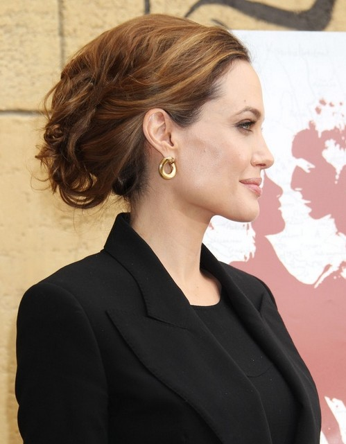 2014-Angelina-Jolie-Hairstyles-Formal-Messy-Updo-Hair-Style Top 100 Celebrity Hairstyles 2019