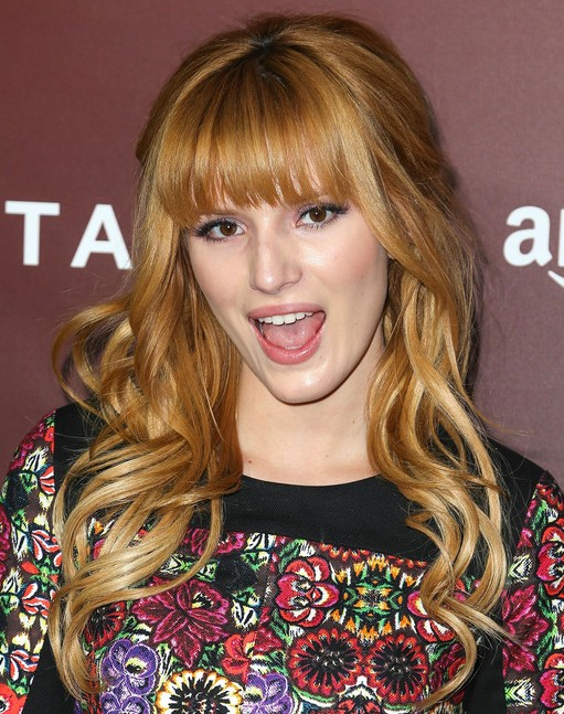 2014-Bella-Thorne-Long-Hairstyles-Curled-with-Blunt-Bangs Top 100 Celebrity Hairstyles 2019
