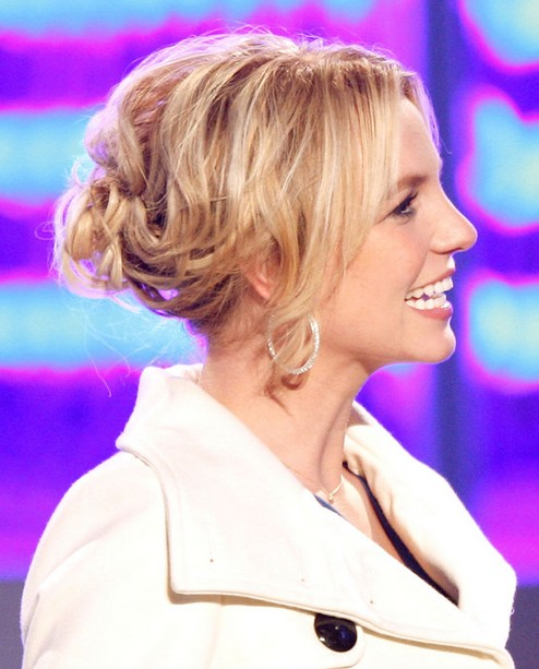 2014-Britney-Spears-Hairstyles-Blonde-Messy-Updo Top 100 Celebrity Hairstyles 2019