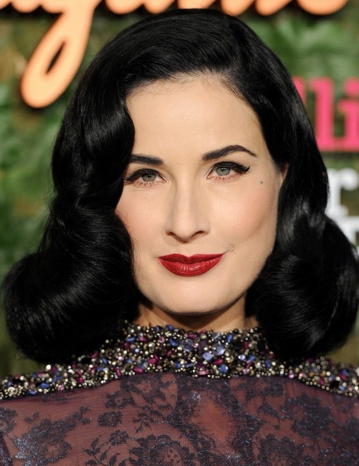 2014-Dita-Von-Teese-Hairstyles-Retro-Long-Curly-Hair Top 100 Celebrity Hairstyles 2019