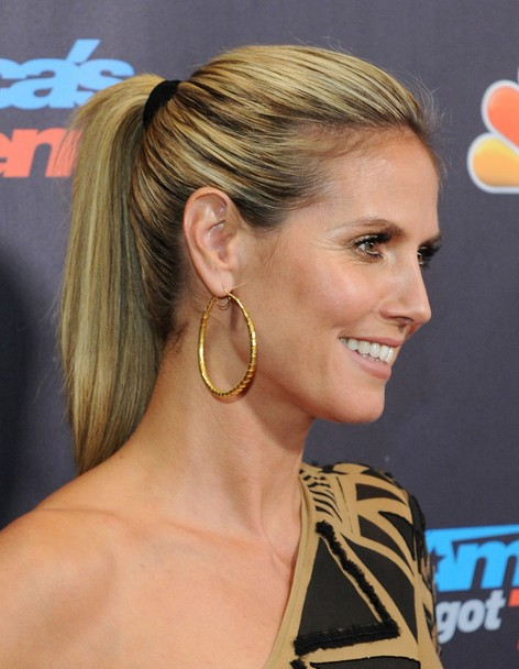 2014-Heidi-Klum-Hairstyles-–-High-Ponytail-Hairstyle-for-Long-Straight-Hair Top 100 Celebrity Hairstyles 2019