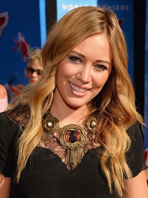 2014-Hilary-Duff-Hairstyles-Sleek-Blonde-Waves Top 100 Celebrity Hairstyles 2019