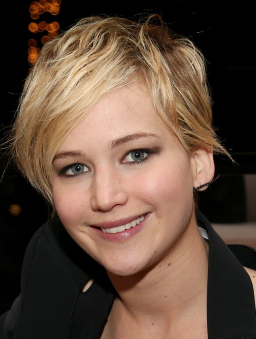 2014-Jennifer-Lawrence-Hairstyles-Cute-Pixie-Haircut-with-Side-Swept-Fringe Top 100 Celebrity Hairstyles 2019