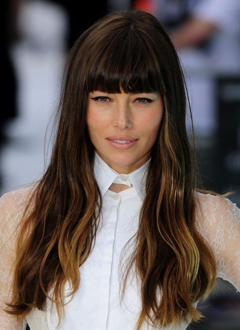 2014-Jessica-Biel-Hairstyles-Long-Hairstyle-with-Blunt-Bangs Top 100 Celebrity Hairstyles 2019