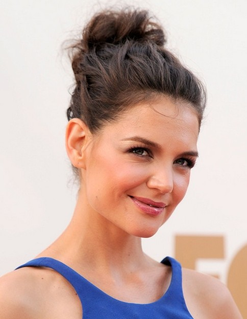 2014-Katie-Holmes-Hairstyles-Messy-Updo Top 100 Celebrity Hairstyles 2019