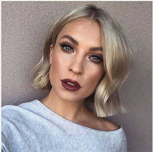 2019-Wavy-Blunt-Bob Modern Short Blonde Hairstyles for Ladies