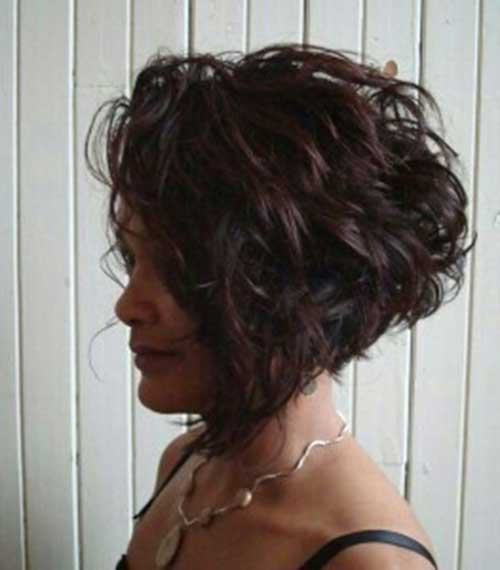 Assymetrical-Curly-Bob-Hair-Style Very Short Curly Hair 2019