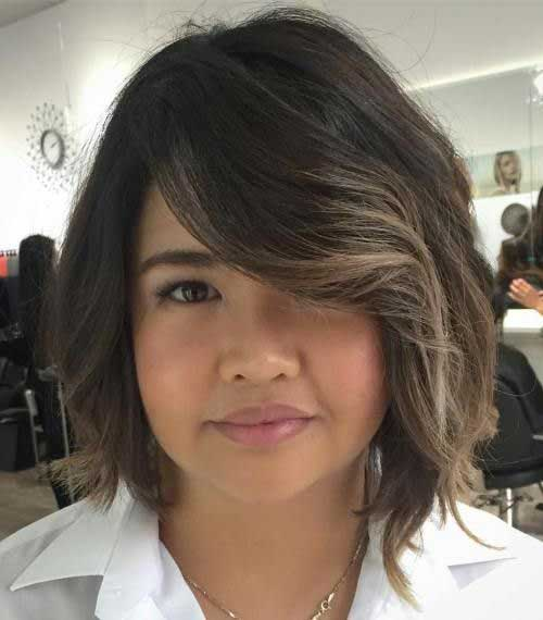 Asymmetrical-Bob Best Pics of Layered Short Hair for Round Face