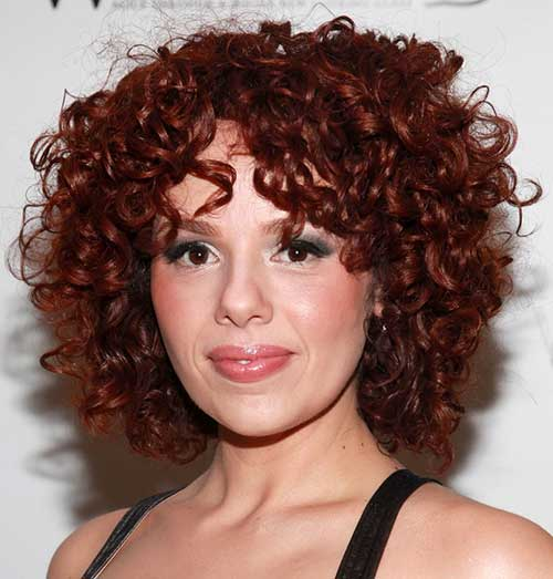 Beautiful-Red-Colored-Short-Haircut Short and Curly Hairstyles 2019