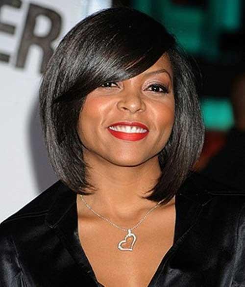 Black-Straight-Bob-with-Side-Bangs Short Bob Haircuts for Black Women