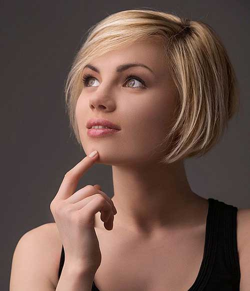 Blonde-Colored-Bob Short Haircuts for Round Face Shape