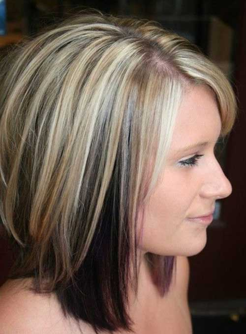 Blonde-Highlights-on-Medium-Short-Hair Short Medium Hairstyles 2019
