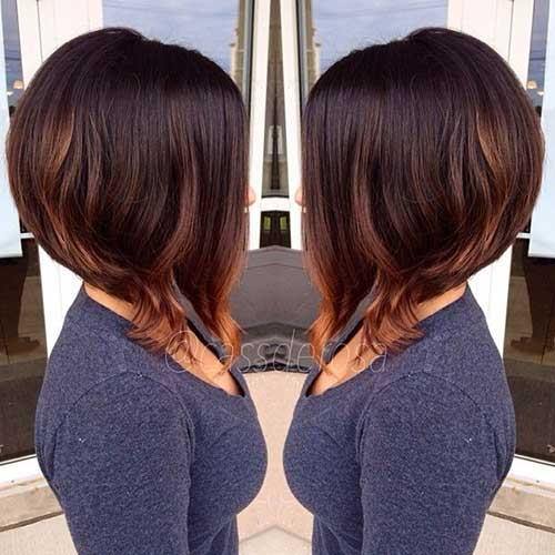 Brunette-Bob-Hair-with-Highlights Brunette Bob Hairstyles 2019