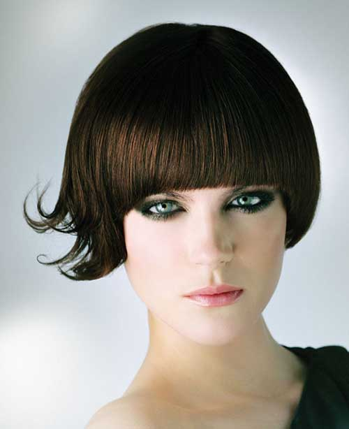 Brunette-Bob-with-Blunt-Bangs Brunette Bob Hairstyles 2019