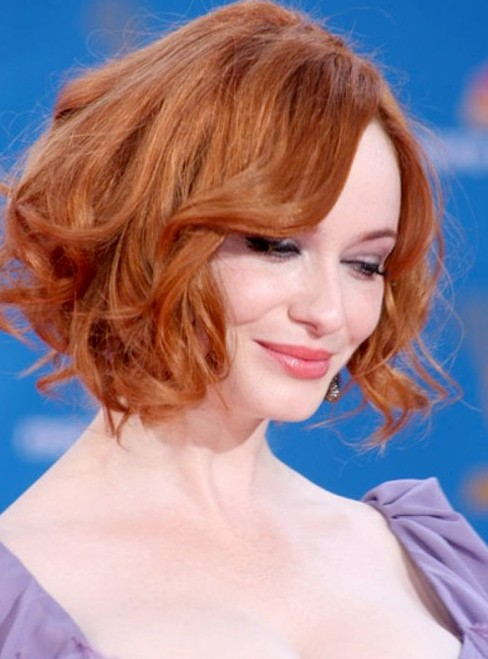 Christina-Hendricks-Soft-Red-Curly-Hairstyle-for-Short-Hair Popular Short Hairstyles for Women 2019