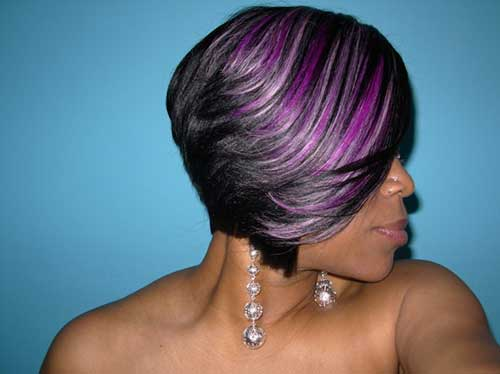 Colored-Short-Feathered-Bob-Hairstyle-for-Black-Women Short Bob Haircuts for Black Women